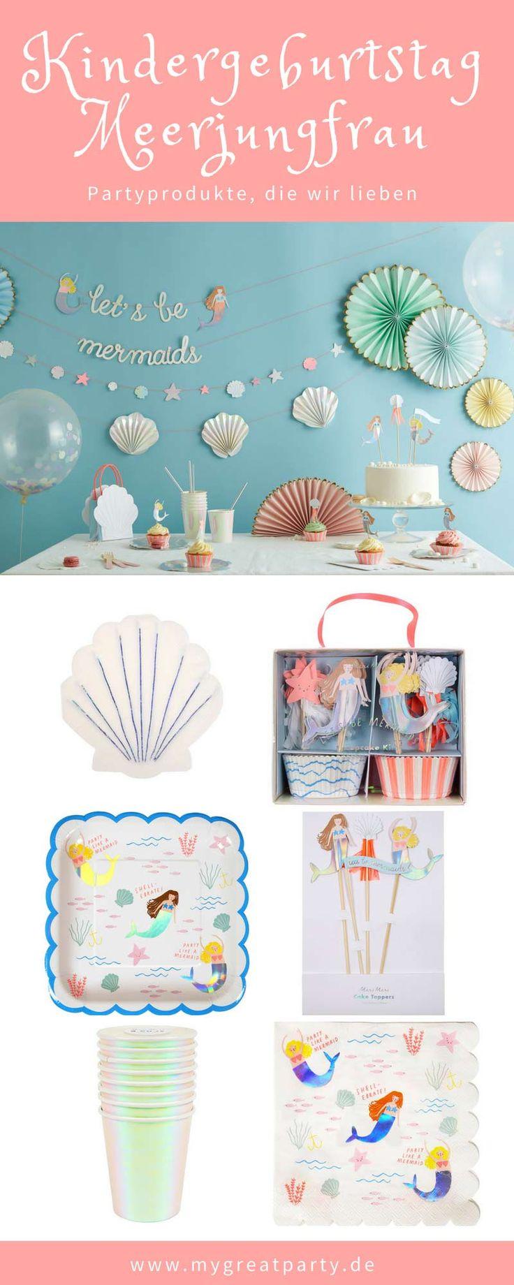 Partydekoration für den Kindergeburtstag einer Meerjungfrau. Wunderschöne Part…