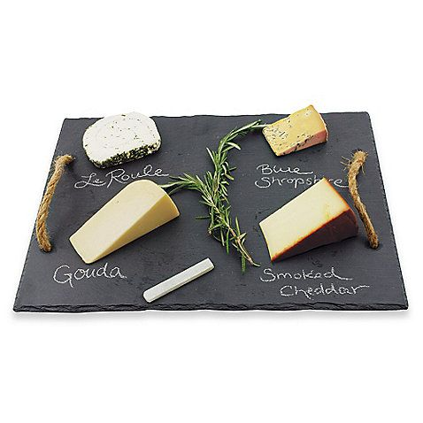 Your next wine and cheese party will be one to remember with this chic Vintage & Vine slate cheese board. It makes a beautiful display for appetizers while allowing you to label snacks by writing directly on the board with the included chalk.