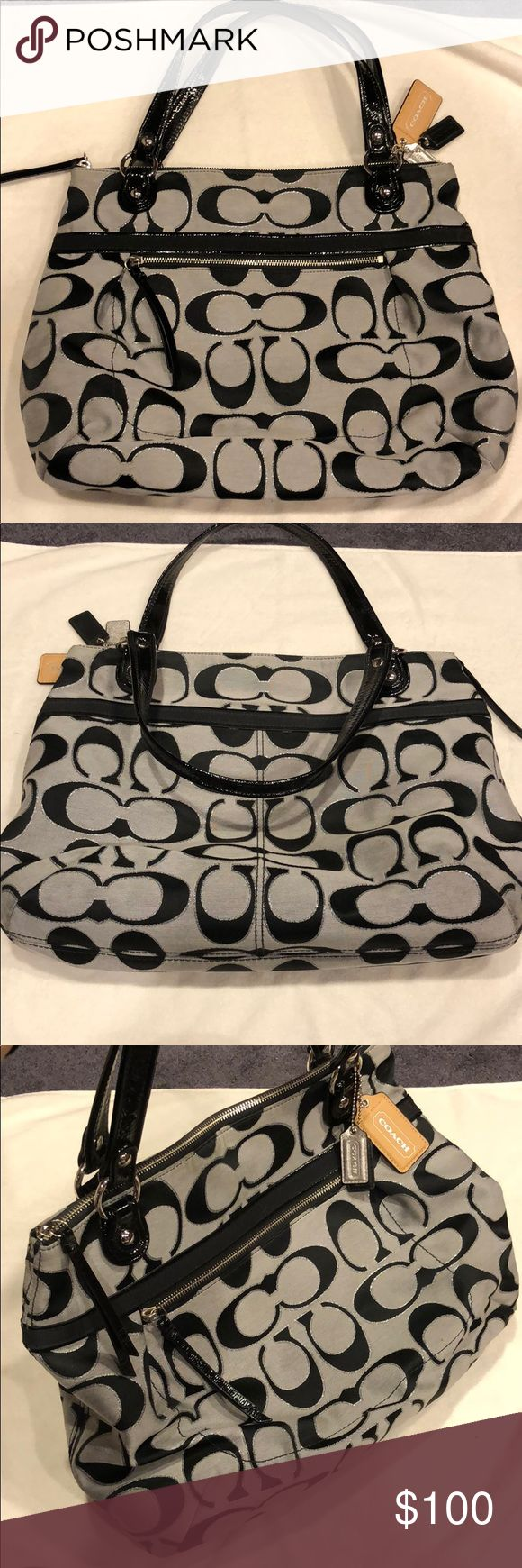 """Coach tote bag Coach tote bag • basically new • grey with black classic pattern • two black patent leather handles • zipper closure • 16.5"""" by 13.5"""" • Coach Bags Totes"""
