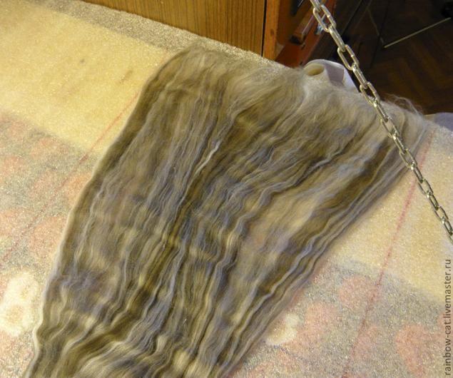 В свое время я искала мастер-класс по валянию шарфа методом растягивания пасмы. Нашла только иностранные варианты, которые опробовала и несколько видоизменила под себя. Изначально такой шарф был задуман как мужской, а так как дырки в мужском шарфе несколько несолидный компонент – решила сделать шарф без них))) Для работы понадобится: - подложка под ламинат, чтобы застелить стол или пол, на…