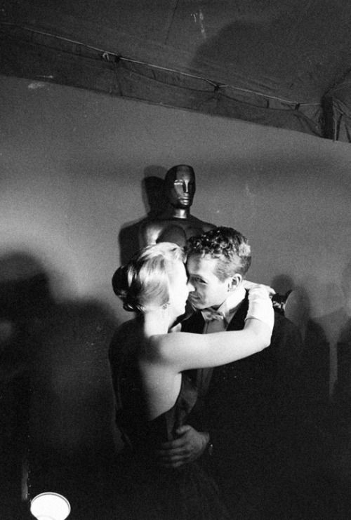 Joanne Woodward dancing with husband Paul Newman after winning Best Actress at the 30th annual Academy Awards, photographed by Ralph Crane, 1958.