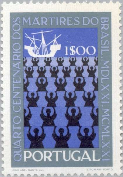 Missionaries and ship (Portugalia) (4th Centenary of the Martyrs of Brazil)