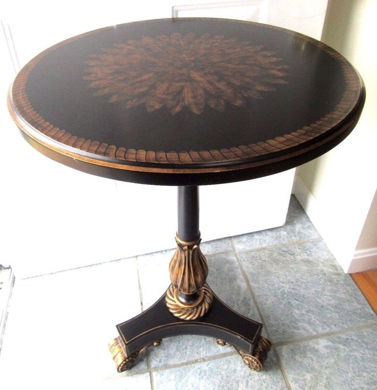 MAITLAND SMITH ROUND PEDESTAL TABLE END ACCENT LAMP SIDE BLACK GOLD PAINTED  #MAITLANDSMITH