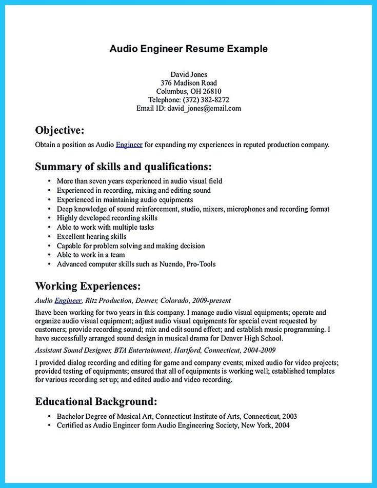 cool Crafting a Representative Audio Engineer Resume, Check more - field engineer resume sample
