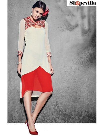 Red & Off White Georgette Readymade Kurti-8002