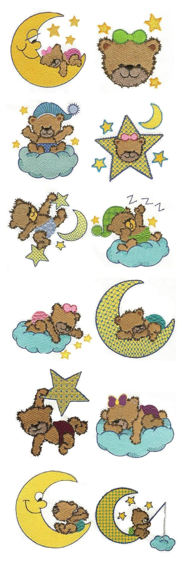 Bedtime Bears design set available for instant download at designsbyjuju.com