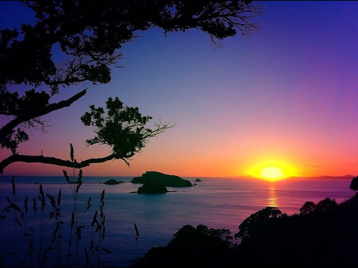 First #Sunrise, New Year's Day #2013  #Matauri Bay, with the #Cavalli Islands in the foreground. #Bay of Islands, #NZ