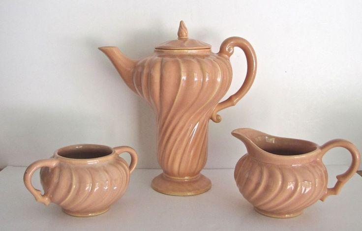 Vintage Franciscan Ware Coronado Coffee Pot / Server & Creamer Sugar, 1940's GMB #FranciscangladdingMcbean