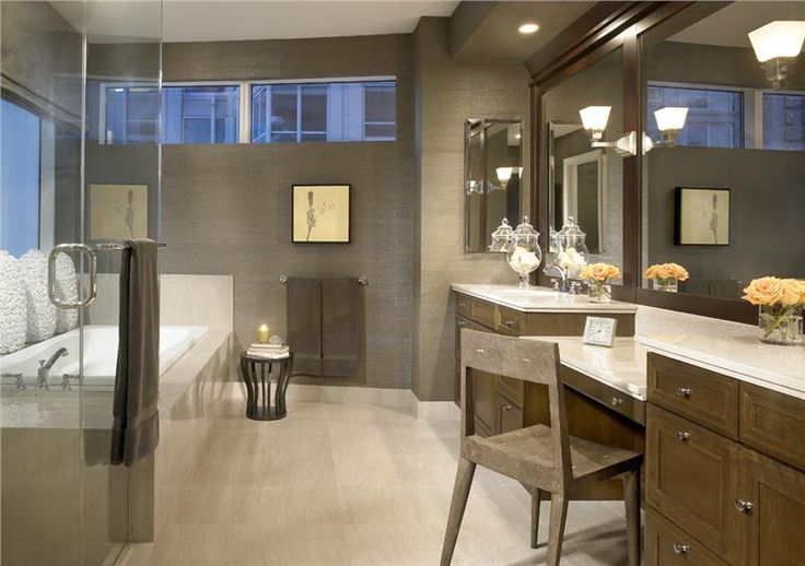 Contemporary grey, brown, cream and white bathroom. Would be perfect if the trim around the mirror and the cabinets were the same color stain.   (Or the trim was painted dark grey.) ~UR  (Bathroom by Gary Lee on HomePortfolio)