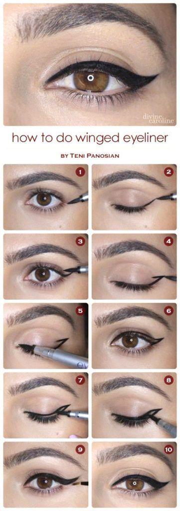 Step by step winged eyeliner application, eye makeup ideas
