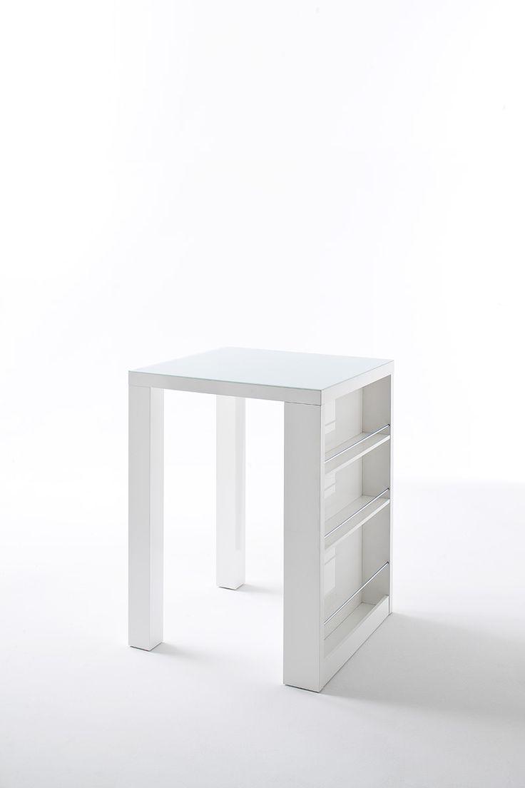 Bartisch Cool Bar mit seitlicher Ablagemöglichkeit Material: Hochglanz weiß lackiert Platte:  5 mm Glas weiß lackiert Ablage:  8 mm Reling verchromt Maße:...