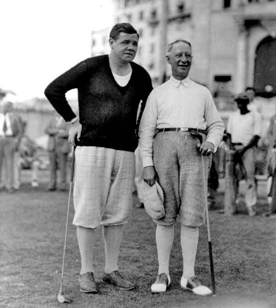 Babe Ruth and Al Smith teeing up