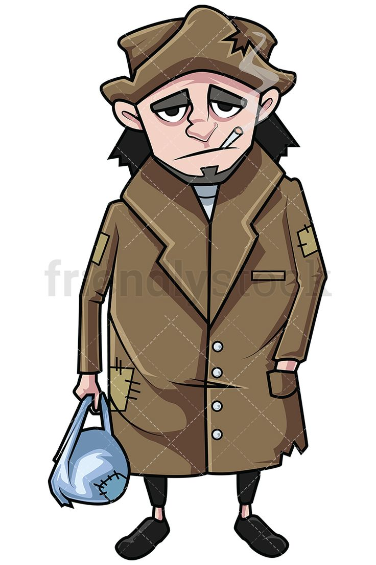Wandering Homeless Man Smoking And Holding His Belongings In A Bag: Royalty-free stock vector illustration of a poor destitute man wearing a patched up trench coat, holding his belongings in a bag and looking sad while smoking a cigarette. #friendlystock #clipart #cartoon #vector #stockimage #art #homeless #outcast #beggar #poor #isolated