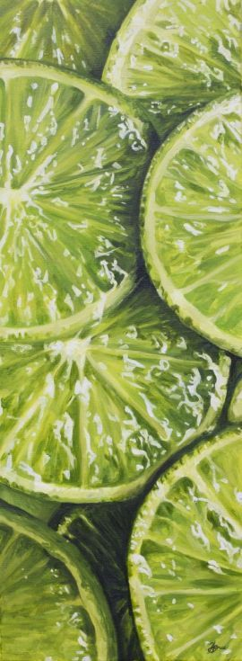 ARTFINDER: Just needs Tonic by Hannah  Bruce - These lovely lime slices are part of my series looking at close up macro fruit.  They work brilliantly against my strawberry paintings too.  I was really int...