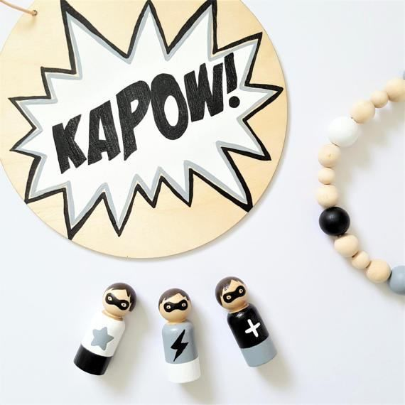 Superhero Peg Dolls, Hero Peg People, Boys Room, Monochrome Décor, Wooden Toys  Bam! Zap! Pow! Set of three monochrome superhero peg dolls. Ideal gift for little superheroes in the making. They look super cute displayed on a shelf or window sill and fit perfectly with the current monochrome trend for boys rooms. Each wooden hero is 6cm tall and hand painted by me using non-toxic paint and gloss. Each has its own mask to hide his identity. Hair colour also available in black and blonde…