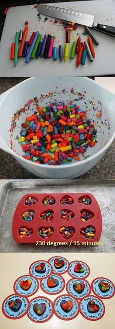 ATELIER CHERRY: broches  Using a heart shaped silicon mold, chop crayons into smaller pieces.  Add to mold, bake 230 degrees F for 15 minutes, and you have magic crayons.  Coloring will be a surprise.  Great for Valentine's Day or stocking stuffers!