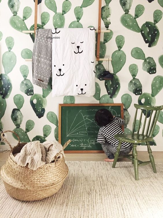 Cactus watercolor wallpaper - Green is the new Black – La déco passe au Vert