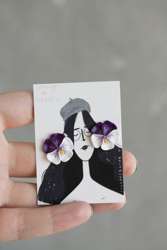 Pansy Earrings Flower Jewelry Clay Earrings Flower Stud Earrings Bridal Earrings Hypoallergenic Studs Bijuterias Brincos Artesanais E Artesanato