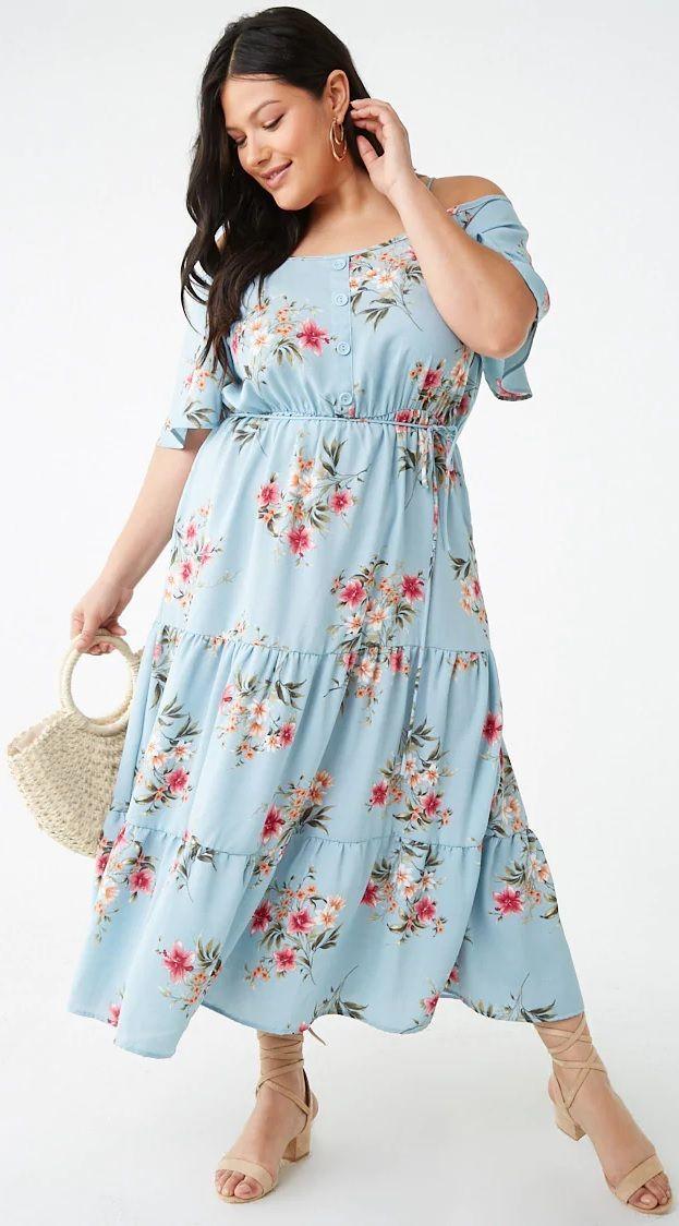 c57decec4ea3 Plus Size Floral Open-Shoulder Maxi Dress in 2019   Plus Size Fashion    Fashion, Curvy fashion, Style