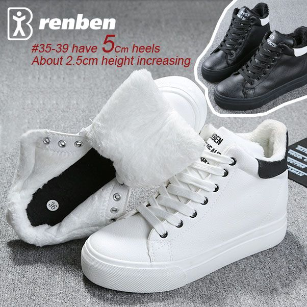 Новый 2015 женщины Повседневная Обувь PU Кожаные ботинки для женщин Размер (35 ~ 43) стиль Высота Увеличение Обувь плюшевые Обувь Бесплатная Доставка