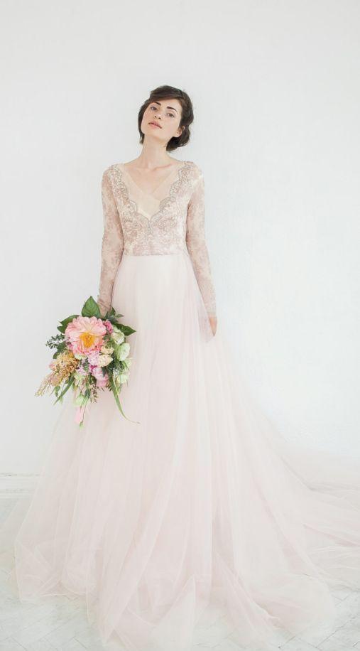 Bead Embroidered Long-Sleeve Tulle Skirt Wedding Dress