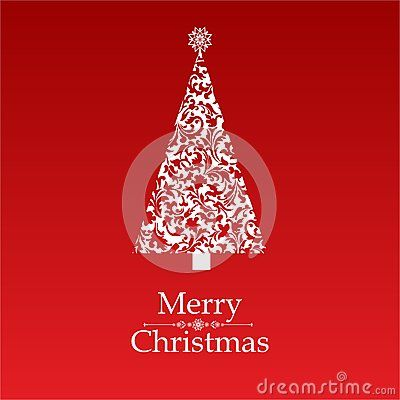 Vector image of christmas card with a red background with a christmas tree and merry christmas text