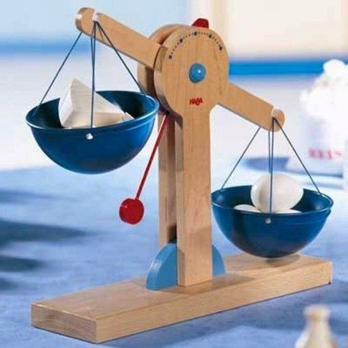 Wooden scale. For their market, AND for school work. Bonus.