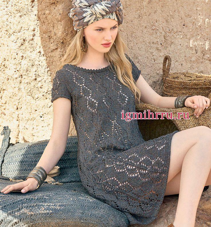 Серо-коричневое летнее платье с эффектным ажурным узором. Вязание спицами
