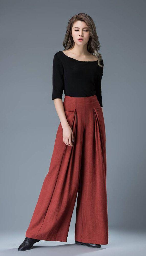 Red linen Trousers Wed Leg Pants Women Pants High Waist Pants Linen Trousers…