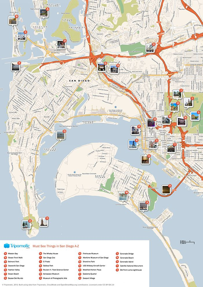 san diego attractions printable map   Download a printable San Diego tourist map showing top sights and ...