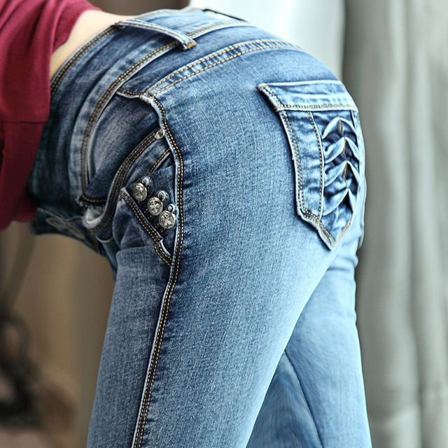 Nouveau Mi Taille Jeans Slim Fit Pantalon Élastique Skinny Jeans femelle Crayon Pantalon Femme Jeans de Femmes Mince Mode Denim Bleu 26-33