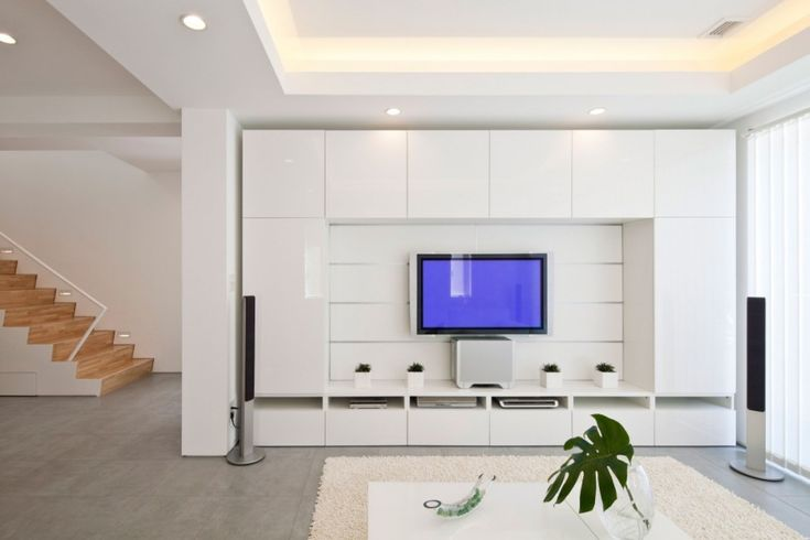 White Living Room –Nice tv-wall, I guess it's just Ikea's Besta system