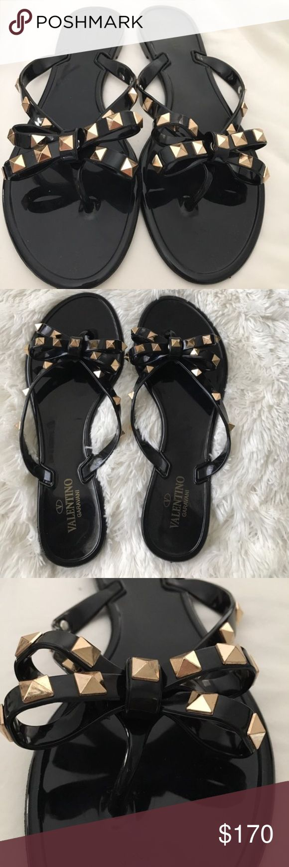 VALENTINO 'Rockstud' Flip Flops Valentino Garavani PVC Rockstud rubber flip flops in black. - Bow detail with warm color palladium-finish studs  - Sole with lace motif  DETAILS Round toeline Contrasting applications  These are a size 39 (but run small as most Valentinos do) They are more suited for a size 7. They are gorgeous and elegant, yet casual & fun. I didn't originally purchase them, so cant confirm 100% authenticity. They are more beautiful in person!!!! ((No Box, sorry.))  **ALL…