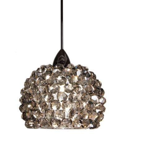 WAC Lighting MP-542 Gia 1 Light Low Voltage Monopoint Mini Pendant - 4.5 Inches Wide (black ice / chrome (Black Ice/Grey)) (Crystal)