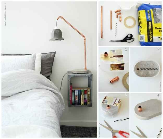 A Simple Bedside Lamp | 22 Seriously Cool Cement Projects You Can Make At Home