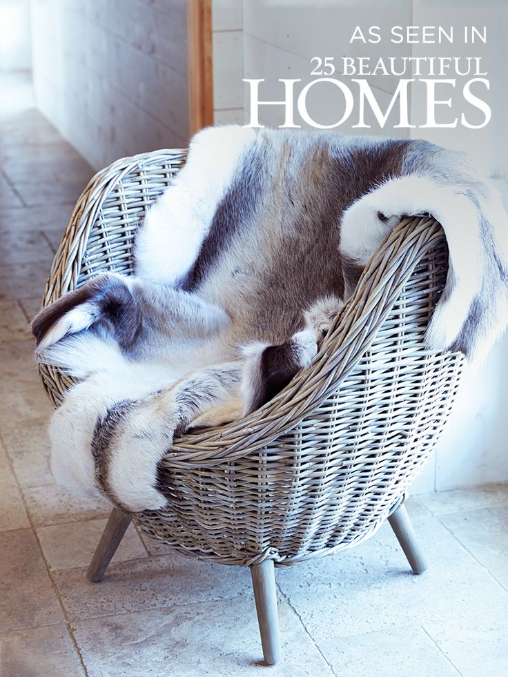 Add a touch of luxury to your home with our 100% natural reindeer hide. Each soft rug is completely unique in colour and shape, adding real character to the back of a seat or sofa. Drape over the back of our stunning Rattan Tub Chair for Scandi inspired luxury. As seen in 25 Beautiful Homes.