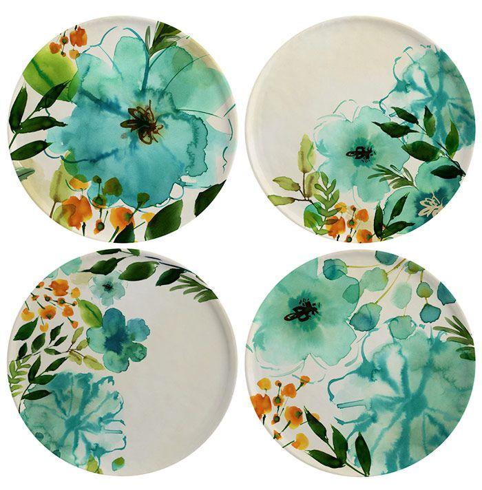 Margaret Berg Art: Teal+Painterly+Plate+Set