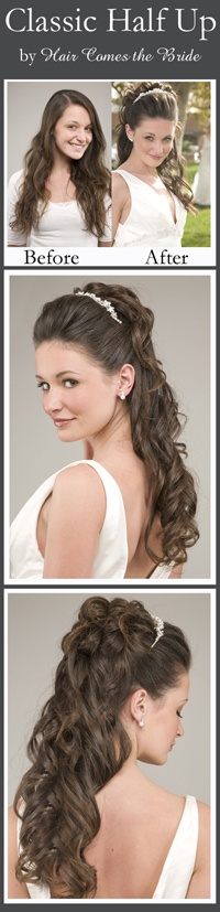 this would be pretty on you with the headband - Classic Half Updo by Hair Comes the Bride