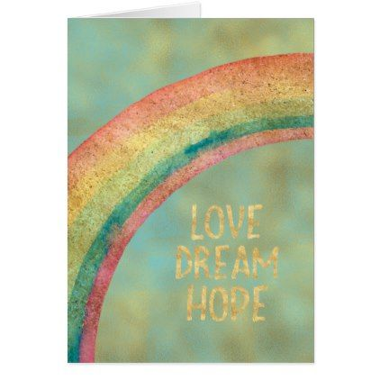 Gold Aqua Believe Rainbow Card - love cards couple card ideas diy cyo