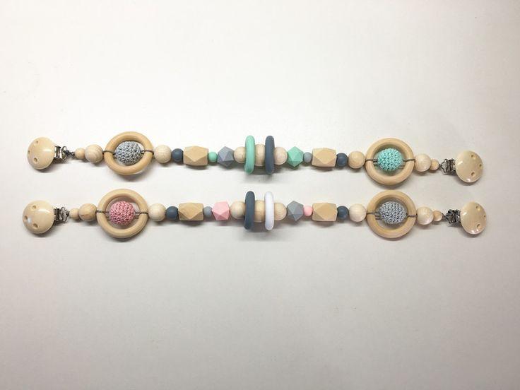 Schnullerbänder - Kinderwagenkette ♥ Holzperlen rosa oder mint grau - ein Designerstück von Annas-Lieblingsstuecke bei DaWanda