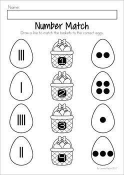 Easter Preschool No Prep Worksheets & Activities. Number representation matching.