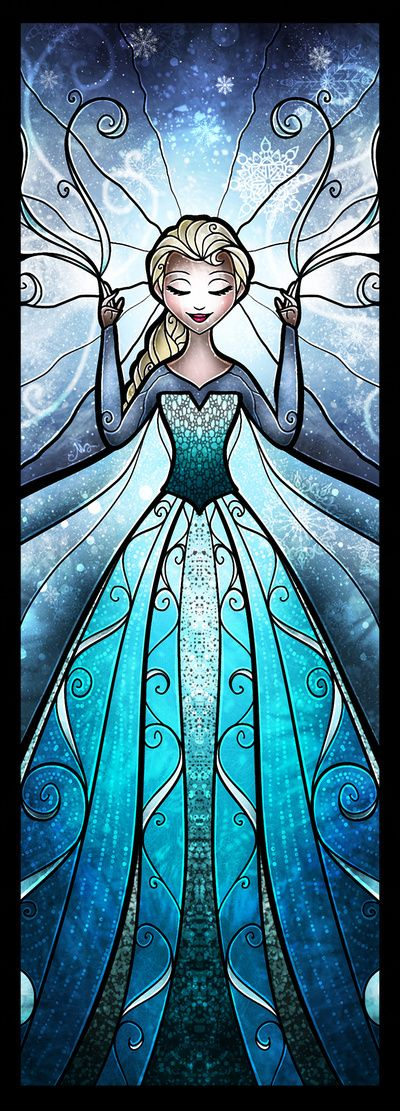 The Snow Queen Art Print by Mandie Manzano #elsa #frozen stained glass effect