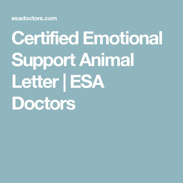 Certified Emotional Support Animal Letter