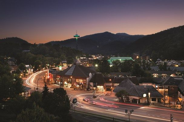 Twilight in Gatlinburg.  Bust streets 24 hours during tourist season.