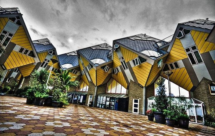 The Cubic Houses are a curious and magnificent architectural wonder located in Rotterdam, Netherlands. They were conceived and constructed by architect Piet Blom in the 1970s