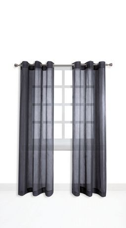 Grey Mainstays Grommet Top Window Panels | Walmart.ca