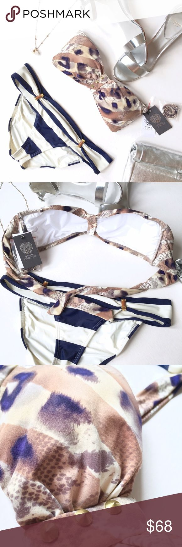 NWT Vince Camuto Mixed Print Bandeau Bikini Top Brand new with tags! Vince Camuto bandeau bikini top in a beautiful and unique mixed stripe and animal print. The various colors within the print allow for a multitude of pairing options--brown, white, grey, navy, etc. This post is for the bikini top only. The top does come with a detachable and adjustable strap, as seen in the first image. Also comes with removable padding inserts. Make me an offer! Vince Camuto Swim Bikinis