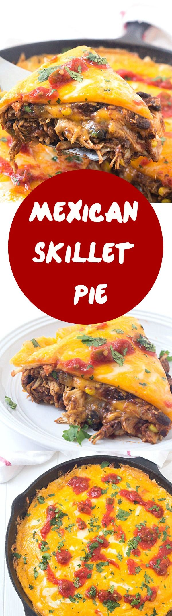 Mexican Skillet Pie - Layered with tortillas, homemade enchilada sauce with black beans and corn, then topped with taco-seasoned shredded chicken! Will become a new favorite the whole family will enjoy!