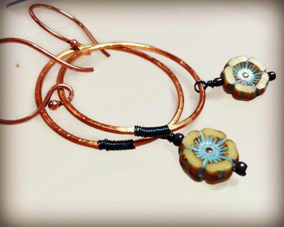 Blue flower earrings copper hoop earrings Czech by ColourMystic