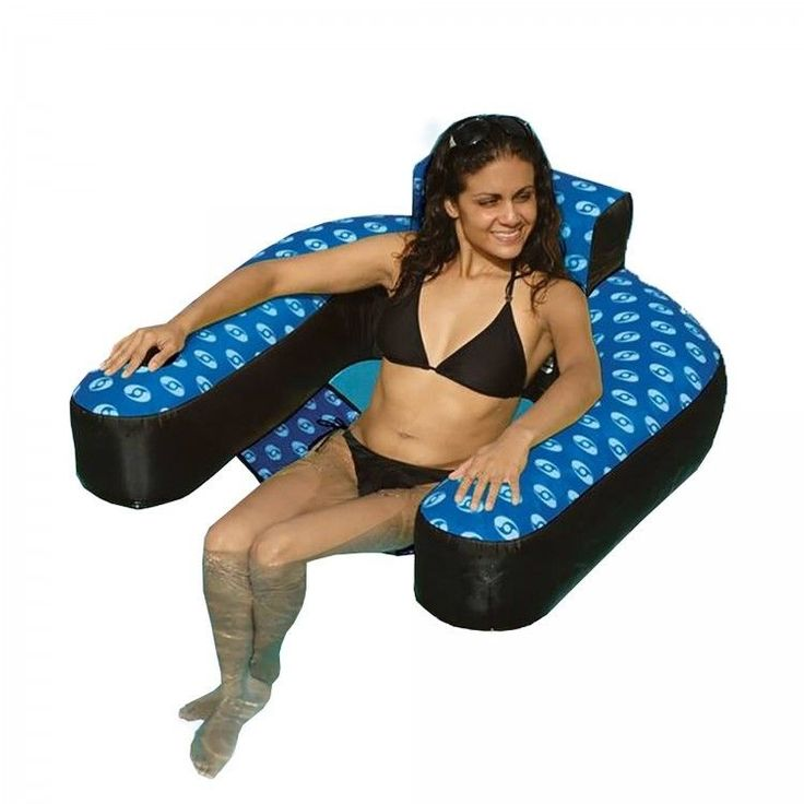 Inflatable Pool Chair Fabric Covered Nylon Suspended Seat Head Rest Drink Holder